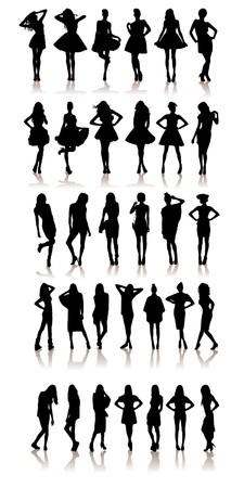 ドレスの様々 な美しいモデルの女の子のセットです。