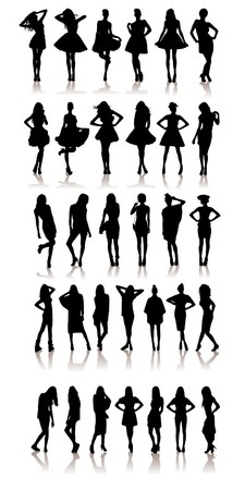 set of various beautiful model girls in dress. Stock Photo - 8132942