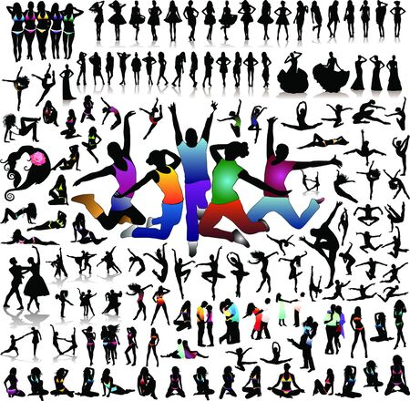 Big set of people silhouettes Stock Photo - 8132947