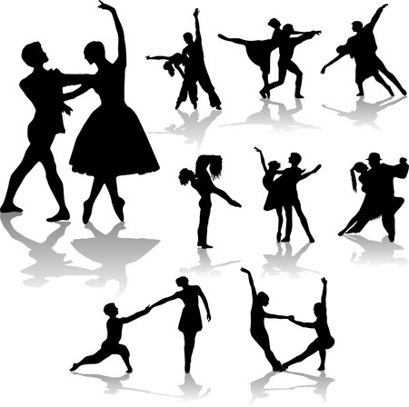 dancing couples silhouettes collection Banque d'images