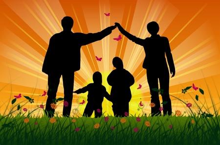 Illustration avec la familles de silhouettes Banque d'images - 8270610