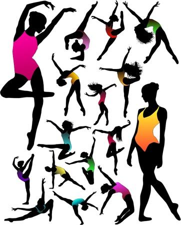 セットのダンスの女の子バレエのシルエット  イラスト・ベクター素材