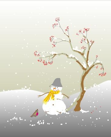Winter snowman Vector