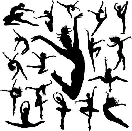 Set Dance girl ballet silhouettes vector