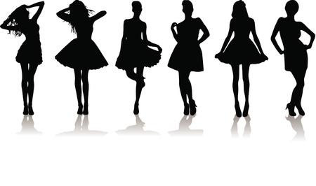 new set of various beautiful model girls in dress. Stock Vector - 9169419