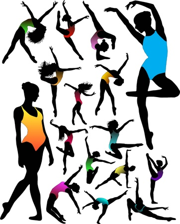 Set Dance girl ballet silhouettes vector Stock Vector - 9169420