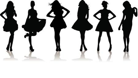 新しいドレスを着ての様々 な美しいモデルの女の子のセット。