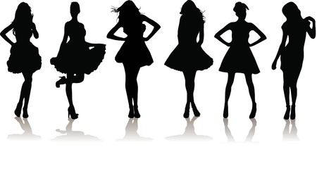 new set of various beautiful model girls in dress. Vector
