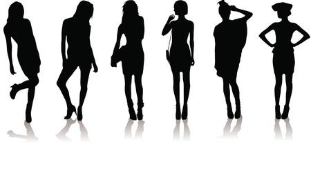 new set of various beautiful model girls in dress. Vector