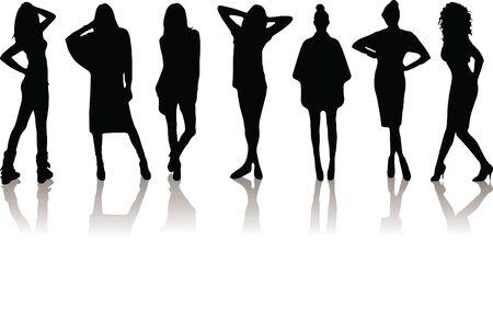 new set of various beautiful model girls in dress. Stock Vector - 9169422