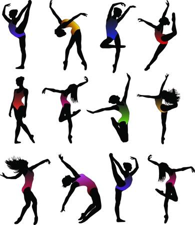 Dance girl ballet silhouettes Stock Vector - 9392831