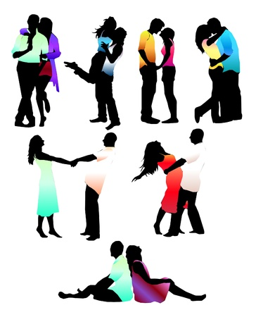 Set of happy love couple silhouettes. Boys and girls