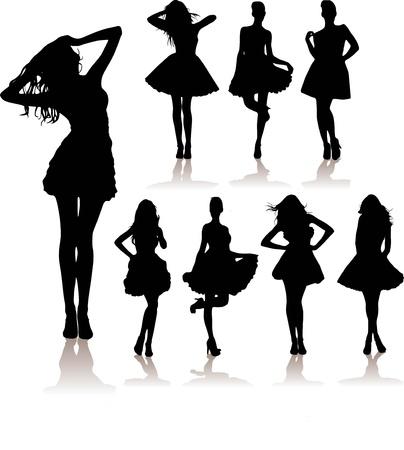 bailarines silueta: invierno, vector de la venta