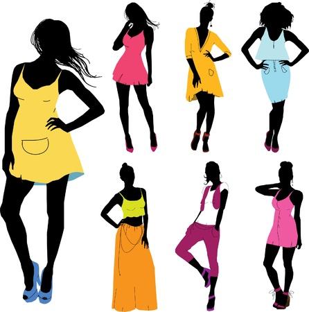 Ensemble de divers filles beau modèle pour les filles Lady robe Banque d'images - 13293335