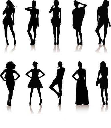 set of various beautiful model girls in dress Lady girls Vector