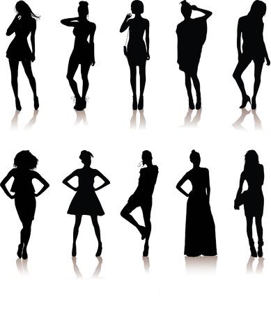 bailarines silueta: un conjunto de varios modelos de las ni�as hermosas en las ni�as Se�ora de vestir