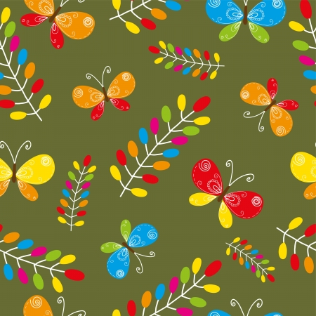 Floral seamless pattern with bird and butterflies