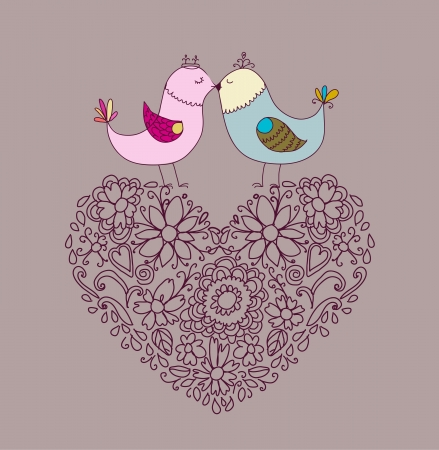 Flowers in the form of a heart and birds Vector