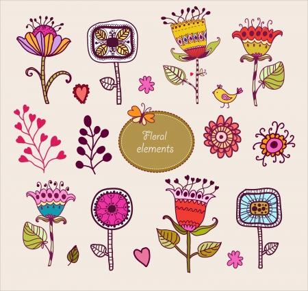 手描きの花要素セット花