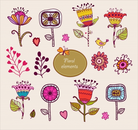 Hand Drawn floral elements  Set of flowers  Stock Vector - 15450807