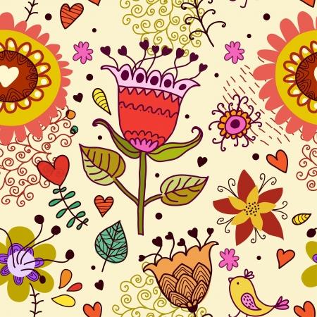 花とのシームレスなテクスチャ
