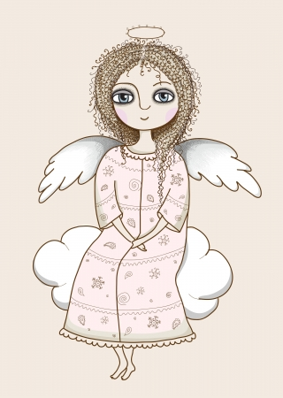 Pretty angel girl Vector