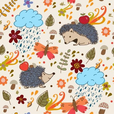 Autumn seamless texture  Illustration