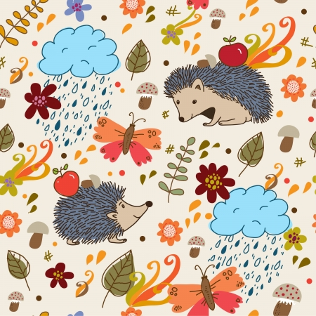 Autumn seamless texture  Vector