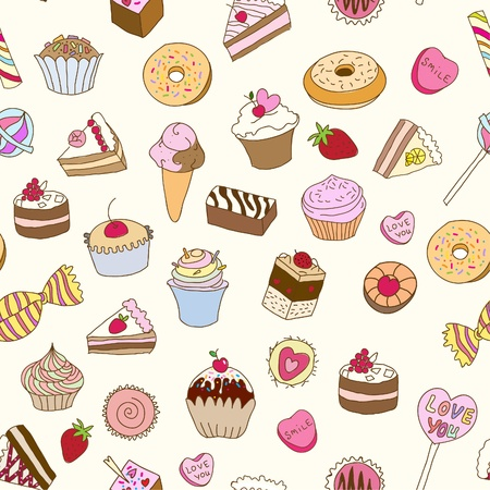 confection: Seamless pattern with sweets  Illustration