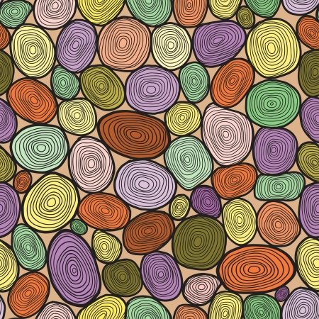 Seamless circles hand-drawn pattern, circles background  Illustration