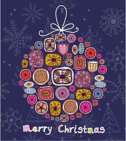 Christmas ball in cartoon style photo