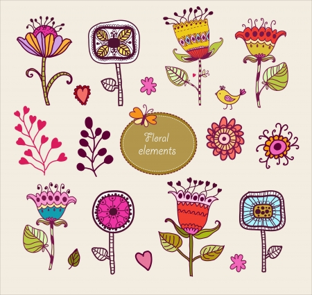 Hand Drawn floral elements  Set of flowers