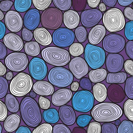 cut logs: Seamless circles hand-drawn pattern, circles background  Illustration