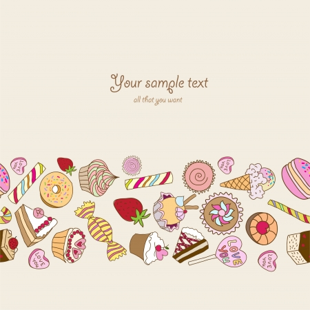 confection: Sweets background with place for your text Illustration
