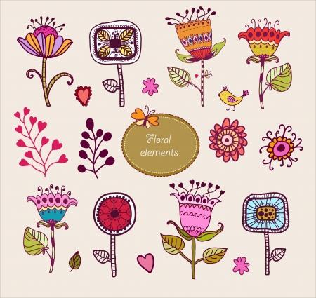 Hand Drawn floral elements  Set of flowers Banco de Imagens - 18661705