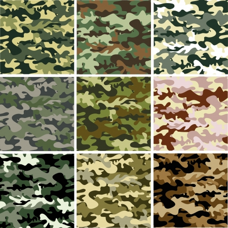 military uniform: 9 Set of camouflage pattern Illustration