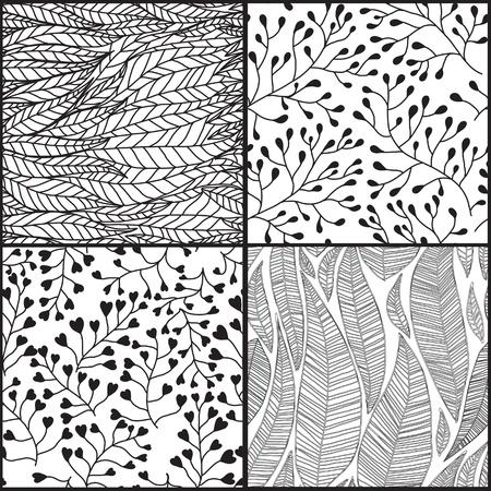 4 シームレスな抽象的な手描き模様、波背景のセットです。シームレスなパターンは、web ページの背景テクスチャ、パターンの塗りつぶしの壁紙に