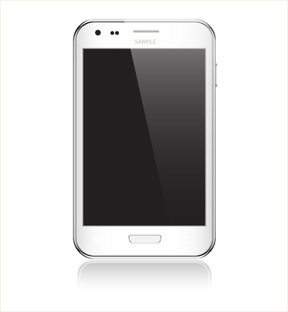 cell phone: Realistic mobile phone with blank screen isolated on white background illustration