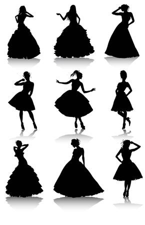 bailarines silueta: conjunto de ilustraci�n de varios modelos de las muchachas hermosas en las ni�as dress.Lady Vectores