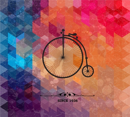 Retro bicycle on colorful geometric background with grunge paper. Retro background with geometric shapes. Vector