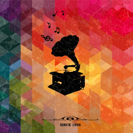 Retro turntable on colorful geometric background