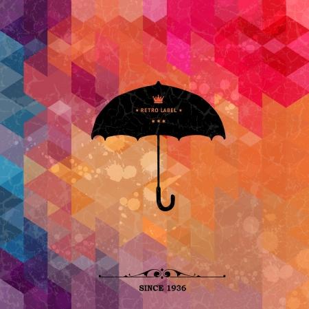 granizo: Paraguas retro en el fondo geom�tricos de colores con papel de grunge Vectores