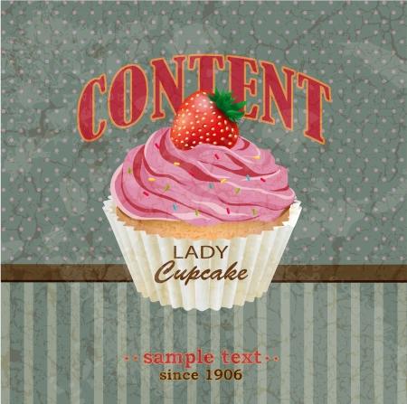 Retro background with cupcake Illustration