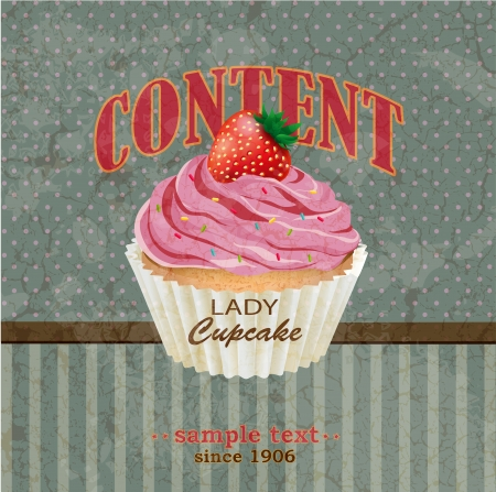 chocolate cupcakes: Retro background with cupcake Illustration