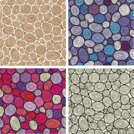 cut logs: Set of four circles hand-drawn pattern