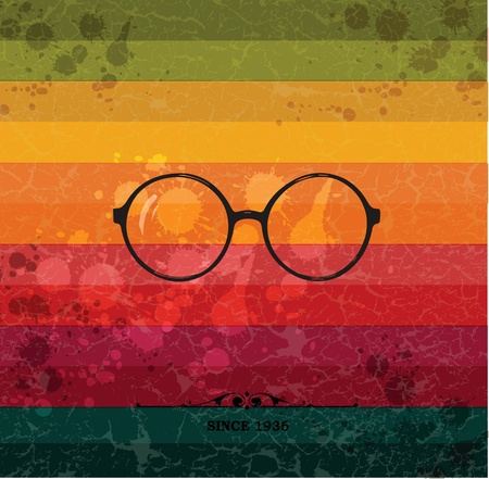 Glasses label on colorful retro background