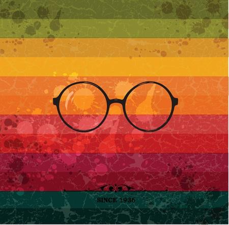 Glasses label on colorful retro background