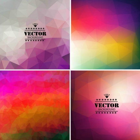 Set of four colorful abstract geometric background Illustration