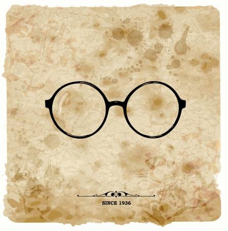 grange: Vintage postcard  Glasses label on grunge paper  Illustration