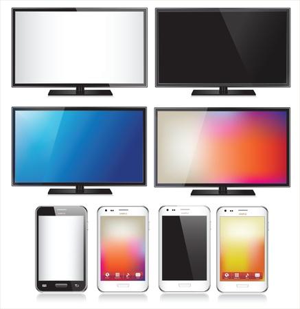 �cran plat: Ensemble de huit t�l�phone mobile r�aliste et TV �cran plat LCD isol� sur fond blanc